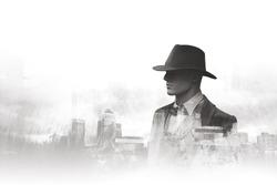 Black and white double exposure portrait urban man