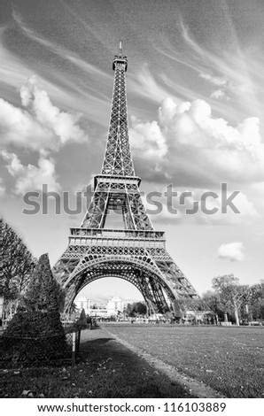 Black and White dramatic view of Eiffel Tower in Paris