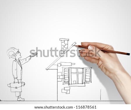 Black and white drawing about construction business