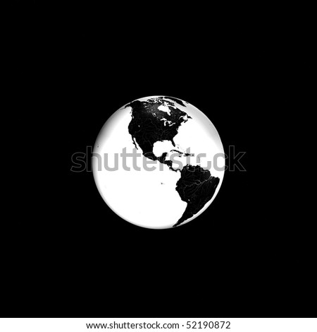 Black and white Earth in space