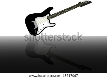 stock photo : Black and white electric guitar with its reflection