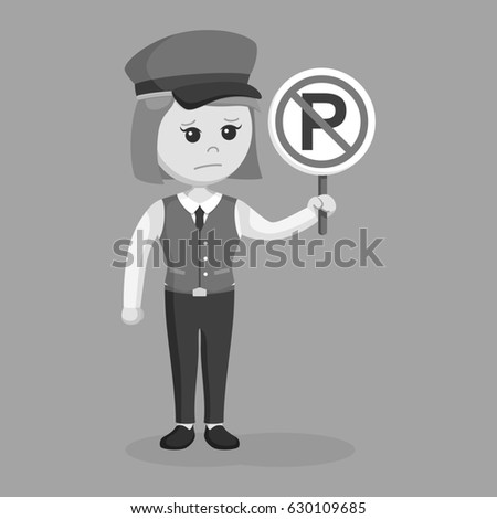 black and white female valet with forbidden parking sign black and white style