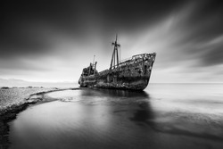 Black and White, Fine Art, Long Exposure Seascape with the shipwreck Dimitrios at Gytheio, Greece