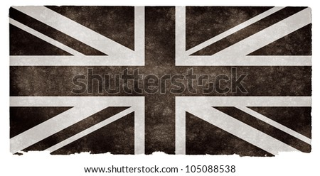 Black and white flag of the United Kingdom on grunge textured vintage paper