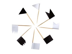 Black and white flags on wooden toothpicks isolated on a white background. Checkboxes of different shapes for account training. Accessories for decorating baked goods.