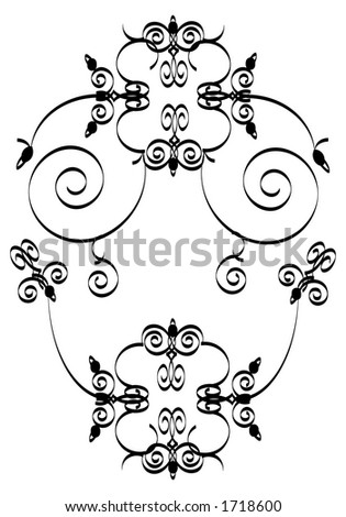 black and white floral ornament