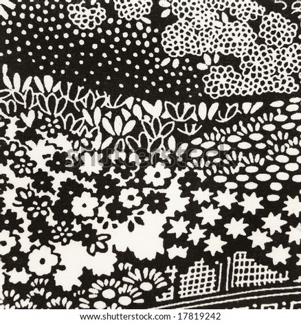black and white floral pattern. stock photo : Black and white