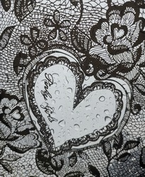 Black and white flourish heart pattern with Pinky girls text on a wet umbrella after rain