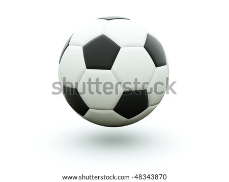 Black and white football isolated on white
