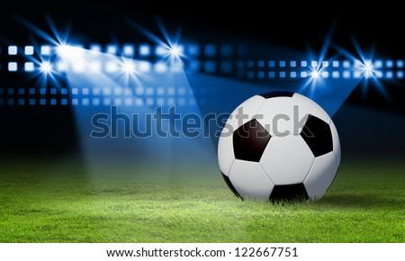 Black and white football or soccer ball, colour illustration