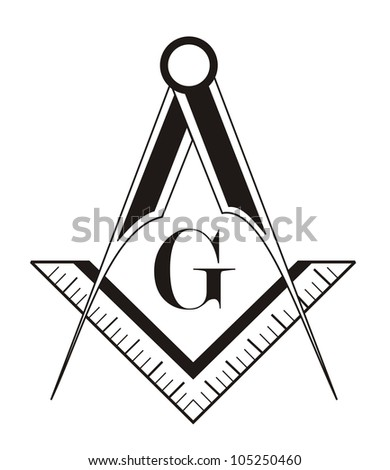 black and white freemason symbol illustration on white background
