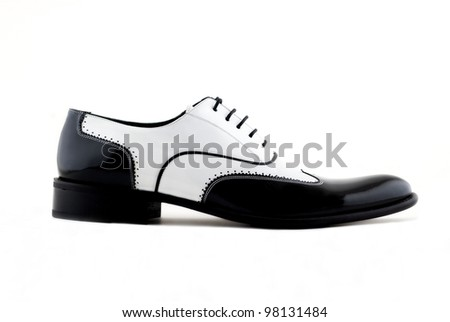 black and white gangster shoes on a white background - stock photo