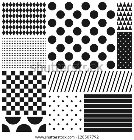 Black and white geometric seamless patterns set (raster version)