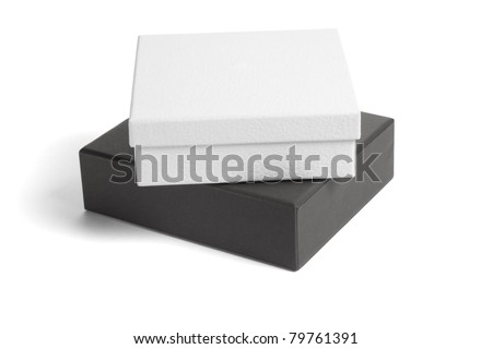 Black and white gift boxes on isolated background