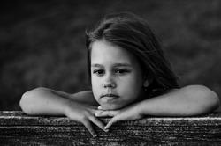 black and white girl portrait closeupspring, walking in the village, vintage