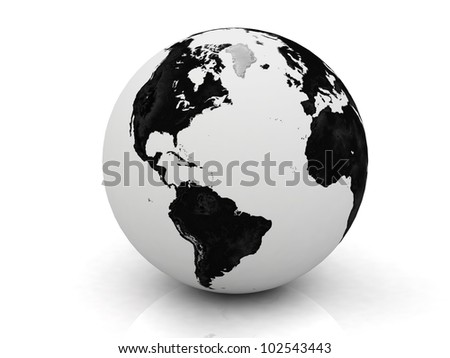 black and white globe 3D rendered - stock photo