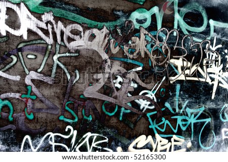 stock photo : Black and white graffiti on a wall
