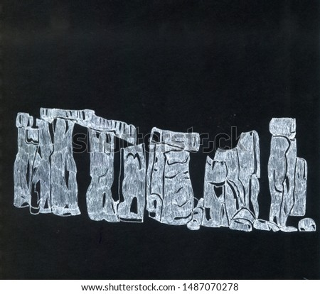 black and white graphic illustration of Stonehenge in England #1487070278