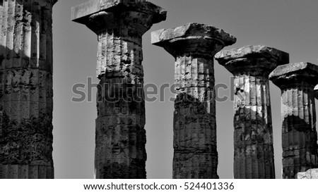 Black and white greek pillars and columns