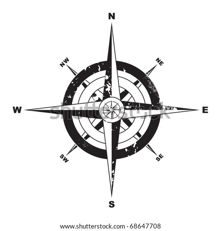Black and white grunge compass with navigation directions
