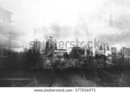 Black and white grunge urban skylines