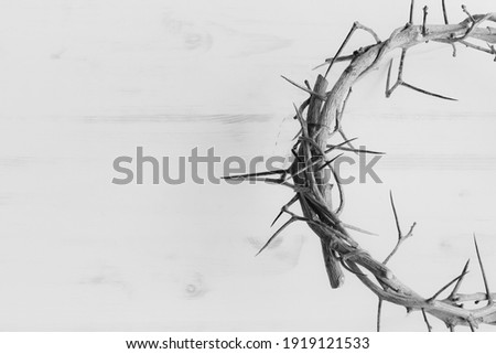 black and white half crown of thorns with copy space Foto stock ©