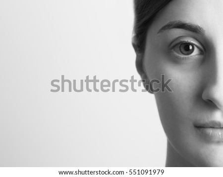 Black And White Half Portrait Of Young Beautiful Girl