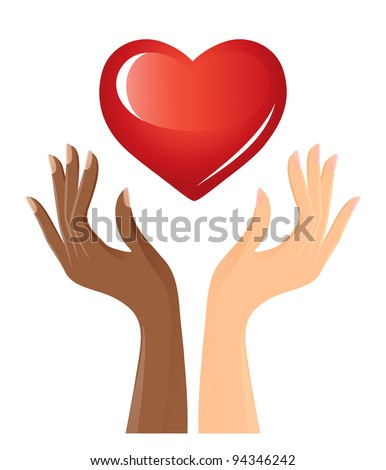 Black and white hands with heart