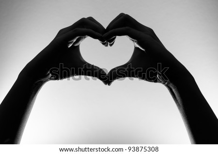 black and white heart hands silhouette