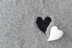 Black and white hearts, loss, death