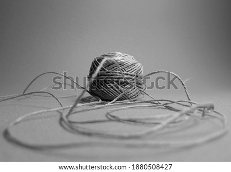 Black and white Hemp thread closeup  Stok fotoğraf ©