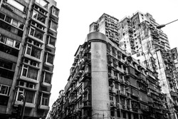 black and white high dense old residential buildings