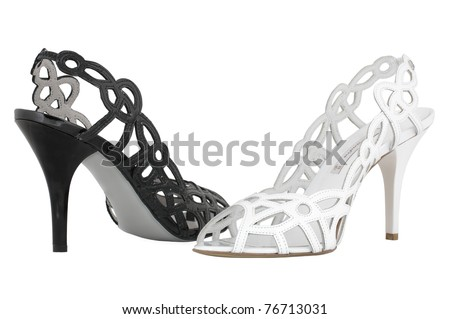 Black and white high heel shoes - stock photo