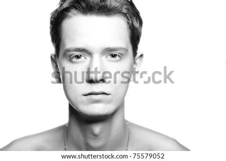 black and white, high key portrait of sad man