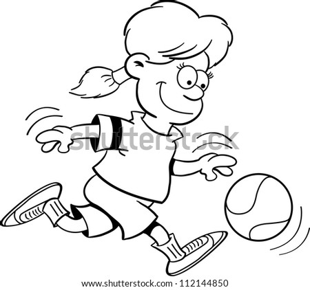 Black and white illustration of a girl playing basketball