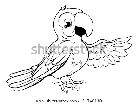 Black and white illustration of a happy cartoon parrot pointing its wing