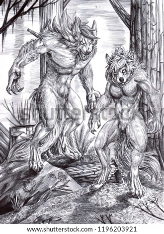Stock Photo Black and white illustration of a male and a female werewolves