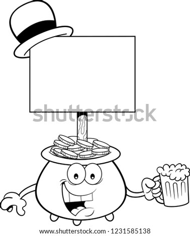 Black and white illustration of a pot of gold with a sign and holding a glass of beer.