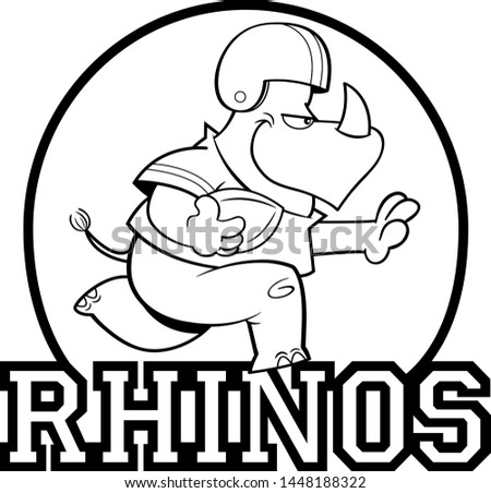 Black and white illustration of a rhino playing football inside a circle with Rhinos text.