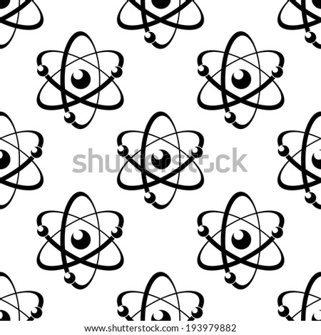 Black and white illustration of a seamless pattern with atoms, on white background. Vector version also available in gallery