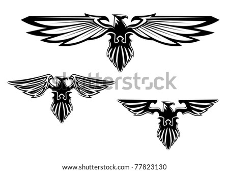Black and white illustration of a stylized eagle or phoenix with outspread wings with three different variations of the wings. Vector version also available in gallery