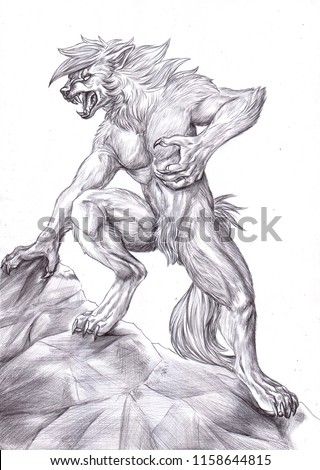 Stock Photo Black and white illustration of an anthropomorphic werewolf climbing a rock