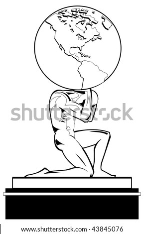 Black and white illustration of Atlas supporting the world. Vector version is available.