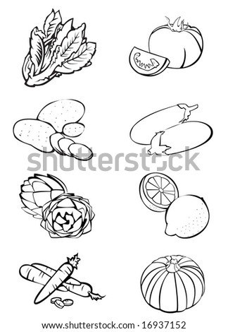 Black and white illustration of eight vegetables: lettuce - tomatoes - potatoes - eggplants - artichokes - lemons - carrots - pumpkin