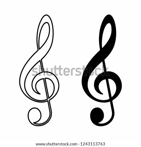 Black and white illustration of treble clefs