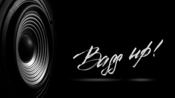 black and white image of a membrane sound speaker isolated on a black background.  Photos contains handwritten text