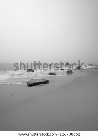 Black and white image of a tranquil beach with rocks.