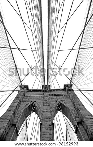 Black and white  image of Brooklyn Bridge in New York