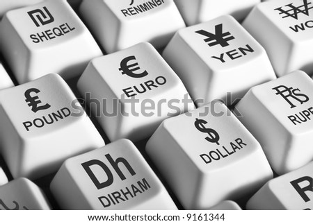 Black and white image of computer keys showing world's major curencies