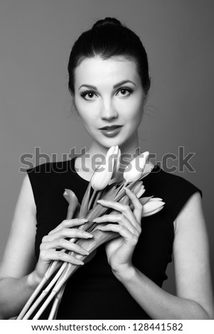 Black and White image of cute woman/Studio black and white image young girl